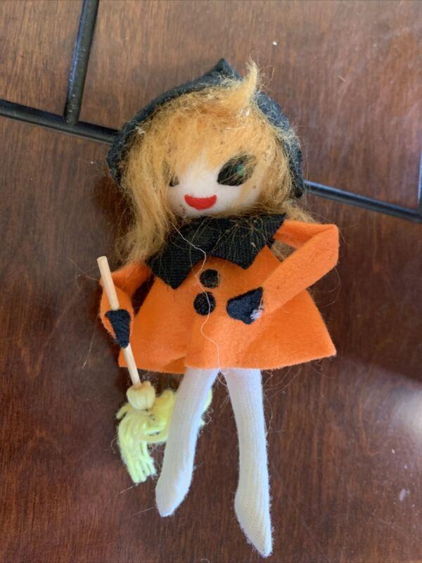 "Vintage Halloween FELT WITCH FIGURE 5"" - Made in Japan"