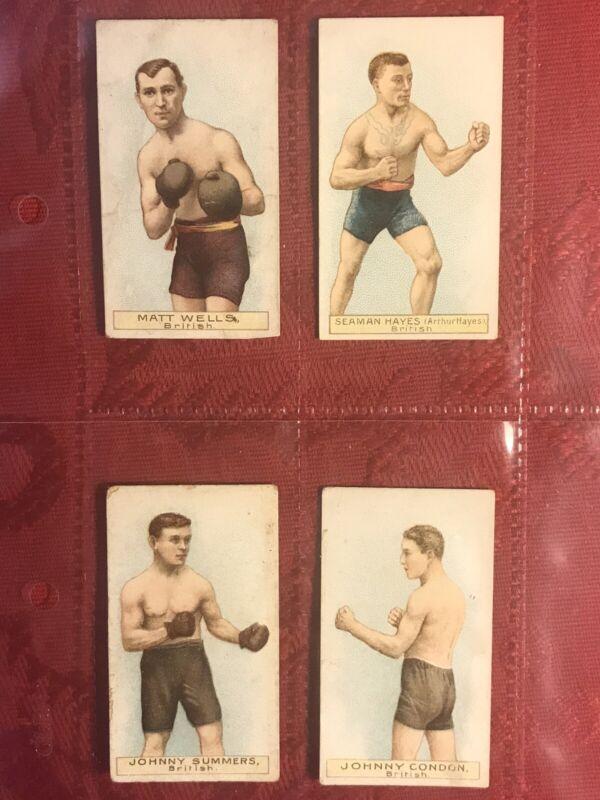1911 W.D. & H.O. WILLS'-BOXERS-GREEN STAR+CIRCLE BACKS-4 CARD BOXING LOT-C PICS