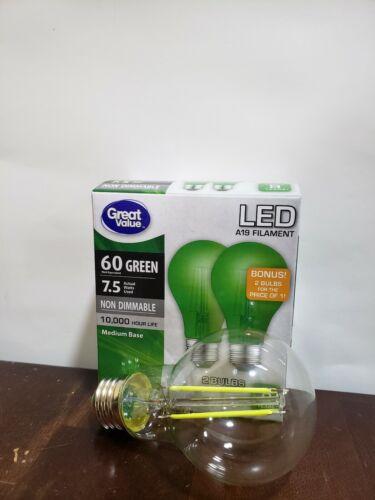 2 GREEN Color LED 60 Watt Equivalent 9W A19 party light Bulb
