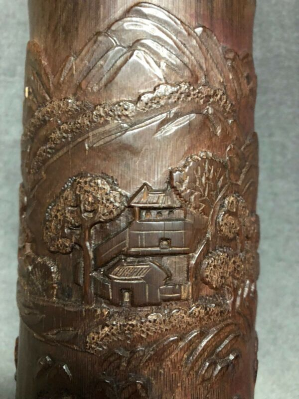 Chinese Antique High Relief Bamboo Hand Carving Brush Pot