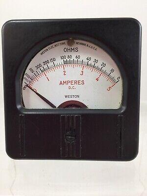Vintage Weston Amperes D.c. Ohms Meter Gauge Model 1301