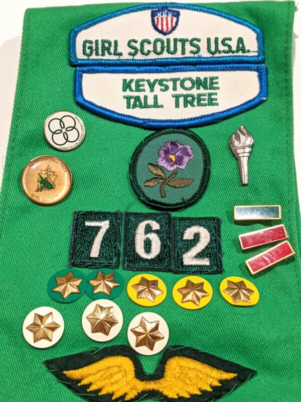 80s Girl Scout Sash, Bridge to Cadette Patch, Leadership & Challenge Pins