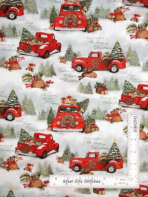 Christmas Home Red Truck Puppy Scenic Cotton Fabric Springs CP69123 By The Yard ()