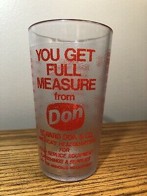 """VINTAGE EDWARD DON MEASURING CUP PROMO GLASS 5"""" YOU GET FULL MEASURE NICE"""