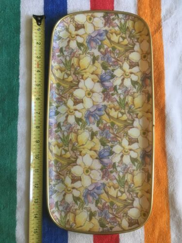 vintage oval vanity dresser tray gold tone floral yellow pink purple organize