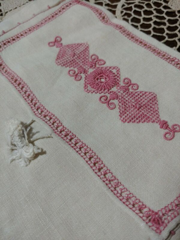 Antique Edwardian Cotton Embroidered Lingerie Boudoir Hanky Storage Bag Bridal
