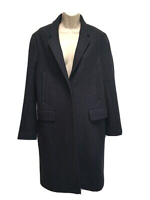 ACNE Smith Navy AW11 Long Blue Wool Single Breasted Coat Overcoat 38 US 6