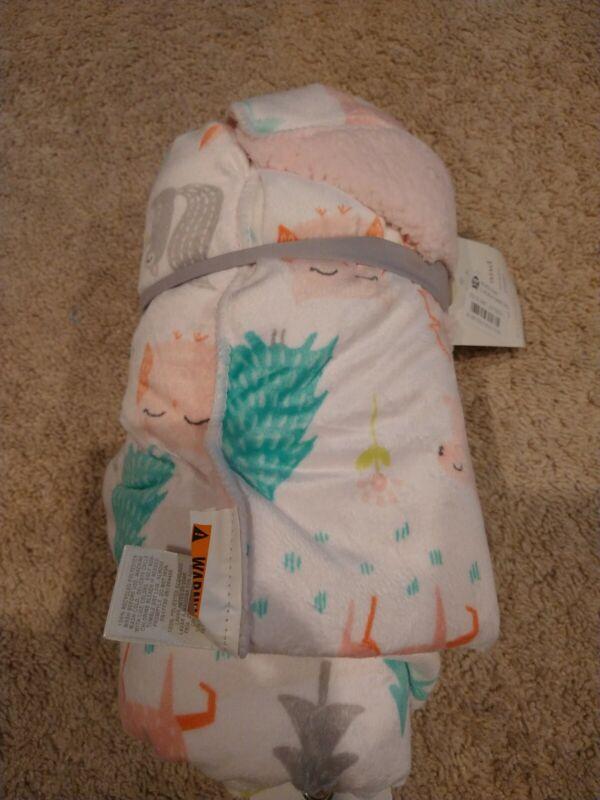 Cloud Island Plush Velbora Baby Blanket Forest Frolic - 30 x 40, Pink/White NEW