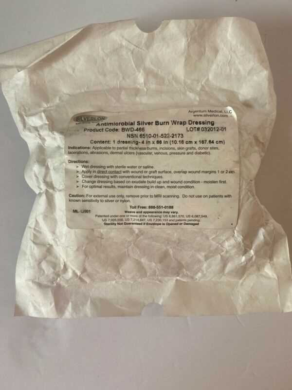 "Silverlon Antimicrobial Silver Burn Wrap Dressing 4"" x 66"" BWD-466"