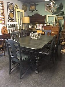 ANTIQUE REFINISHED DINING TABLE $450 chairs $80 ea. Plus more!