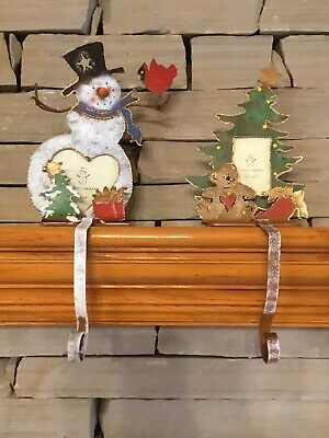Set Of 2 Metal Stocking Holders Christmas Tree Snowman Picture Frame