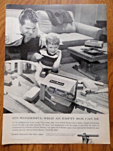 1958 Dutch Masters Cigar Ad Boxes for a Young Casey Jones Blocks Train Track Set
