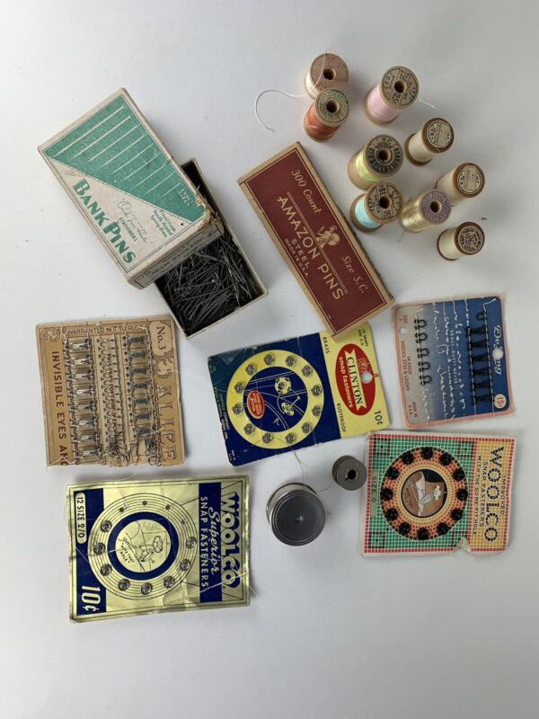 LOT Vintage Sewing Notions Snaps Bank Pins Hooks Thread Measuring Tape