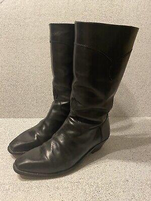 Vintage Gucci Men's Cowboy Boots Size 42.5M/ US 9.5 Black Leather Very Rare!!