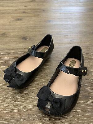 Mini Melissa 8 Black Shoes Ribbon Girl Toddler