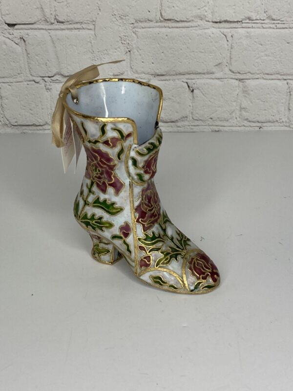 NYCO Vintage Gilt Metal Cloisonné Enamel Floral Boot