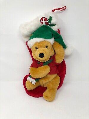"Vintage Disney Singing WINNIE THE POOH Plush Sensor Christmas Stocking 16"""