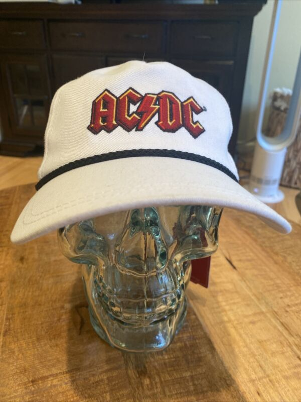American Needle AC⚡️DC Snapback Baseball Hat Cap White AC/DC NWT Vintage Look