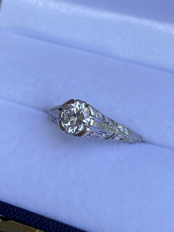 Antique Edwardian platinum .96ctw old European cut diamond engagement ring