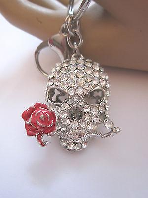 Schlüsselanhänger Taschenanhänger STRASS Totenkopf Skull Kristall Silber Rose