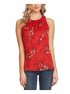 VINCE CAMUTO Womens Red Ruched Floral Sleeveless Jewel Neck Top Size: XL