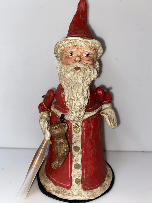 Poli Woggs Santa Claus Teddy Bear American Folk Art Christmas Decor