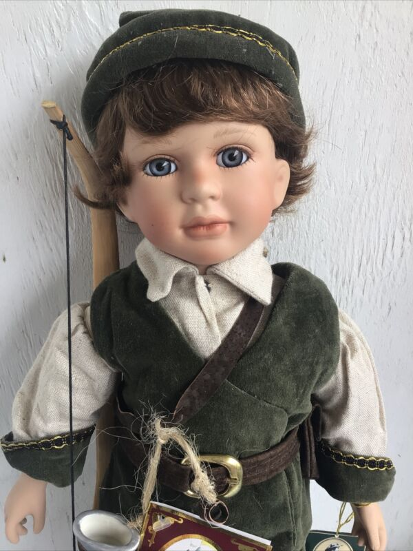 """Porcelain Robin Hood Doll, Fairy Tale Series by Geppedo, 17"""" tall"""