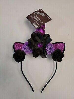 Happy Halloween Girls Purple & Black Unicorn Horn Headband W/Flowers BRAND NEW!