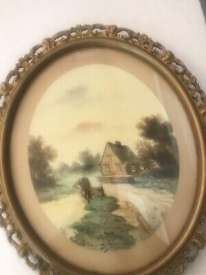 Vintage Watercolor of Cottage Painting signed H. Amie 1890-1930–Gilt Frame Vintage Painted Cottage