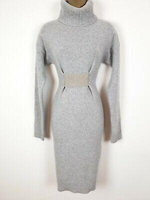 JOSEPH wool cashmere knit jumper blue grey dress UK 8 10