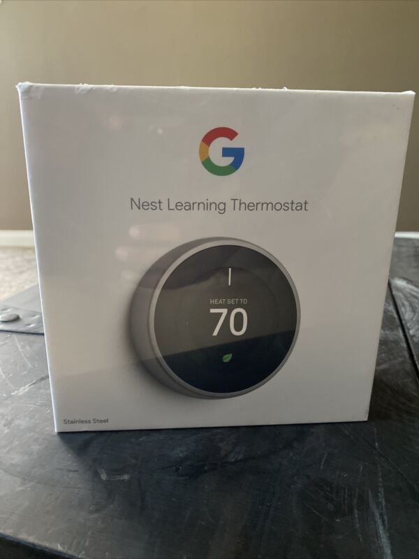 Google Nest Learning Thermostat 3rd Gen  S/Steel  Brand New In Sealed Box