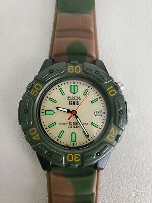RARE!!  HUNTER' CITIZEN WATCH OXY IGNIS CAMO WORKING CAMOUFLAGE BAND BACKLIGHTED