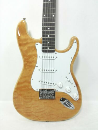 Haze HSST 10S 12-String Electric Guitar,S-S-S, Natural Quilted Top +Free Gig Bag