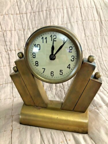 BRASS ART DECO STYLE MANTEL DESK SHELF CLOCK 8.5""