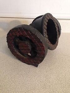 Vintage Carved Wooden Cannon Shaped Wine Bottle Holder