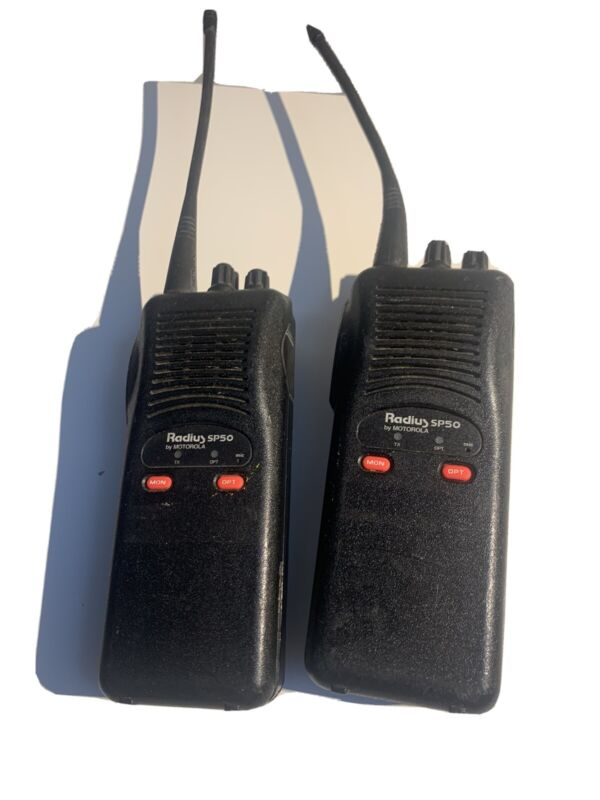 A pair two Motorola Radius SP50 RADIOs one battery just needs new batteries