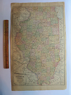 "Original Antique 1899 Atlas Map Illinois/Ohio Oversize Tri-fold 22"" x 13.5"""