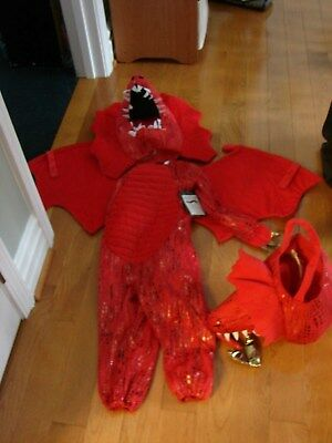 POTTERY BARN KIDS HALLOWEEN  RED DRAGON COSTUME/MATCHING TREAT BAG GREAT OUTFIT](Great Kids Halloween Costumes)