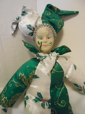 Good Stuff Harlequin Holly Design Doll Porcelain head hands feet painted face