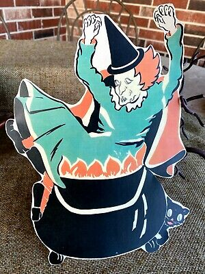 "Repro Vintage Deco Witch Falls in Cauldron Halloween Cardstock Decoration,8"",10"""