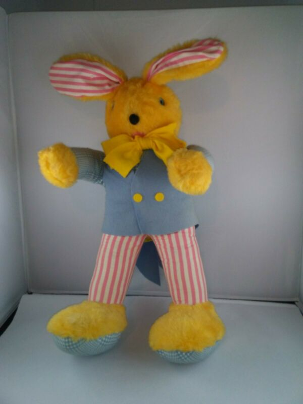 1950s Bijou Toys stuffed Yellow Easter Bunny Bow Tie Blue Suit Pink Striped 24""