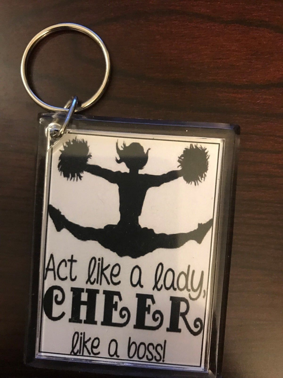 Cheerleading Keychain with Act Like a Lady Cheer Like a Boss