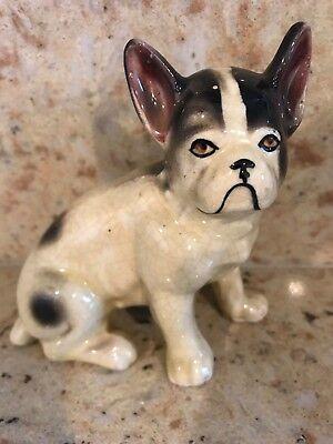 Vintage Porcelain Black & White French Bulldog Bat Ears Figurine (French Bulldog Ears)