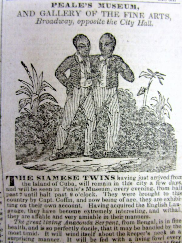 1835 newspaper w illustrated ad THE SIAMESE TWINS Chang & Eng @ PEALE