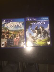 Far cry 5 and horizon zero dawn for ps4.