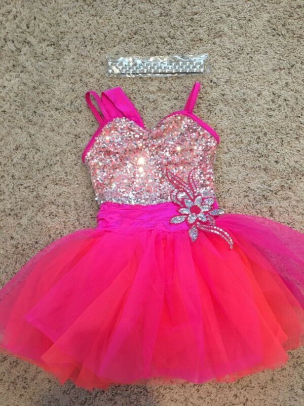 Weissman Dance Costume Hot Pink Orange Silver Sz. IC Intermediate Child Solo