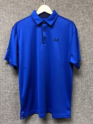 Under Armour Heat GearMens  Golf Polo Shirt Royal/Navy Blue Size L Loose NWOT