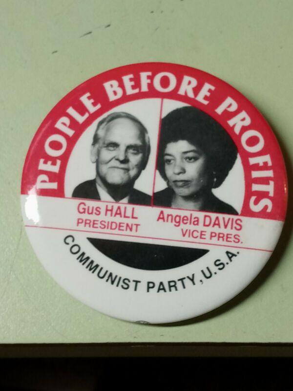 Vtg GUS HALL & ANGELA DAVIS Presidential Election pinback button COMMUNIST PARTY
