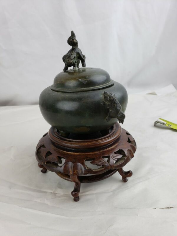 Superb marked antique bronze incense burner , w. stand