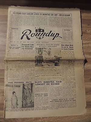 RARE Wartime Newspaper 1944 CBI Roundup Newspaper 8/17/44, + Partial Issue